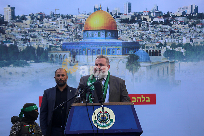Palestinian Leader of the Hamas movement, Osama al-Muzaini, speaks during a rally marking the 32th anniversary of the founding of the Hamas movement, in Gaza city, December 14, 2019. Photo by Ashraf Amra