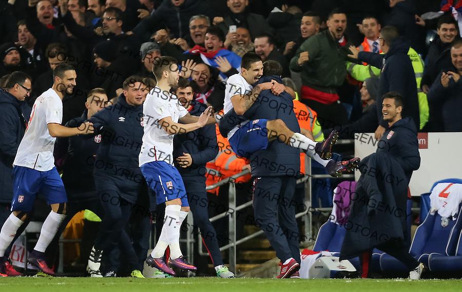 (copyright &amp; photo: STARSPORT)<br /> 12.11.16 - Wales v Serbia, FIFA World Cup Qualifier 2018 - Aleksandar Mitrovic of Serbia celebrates after scoring goal