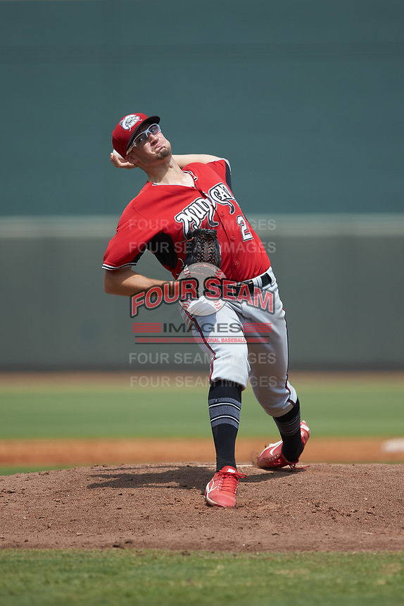 Carolina Mudcats starting pitcher Aaron Ashby (27) in action against the Winston-Salem Dash at BB&T Ballpark on August 4, 2019 in Winston-Salem, North Carolina. The Dash defeated the Mudcats 7-5. (Brian Westerholt/Four Seam Images)