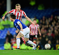 Lincoln City's Harry Anderson vies for possession with Everton's Leighton Baines<br /> <br /> Photographer Chris Vaughan/CameraSport<br /> <br /> Emirates FA Cup Third Round - Everton v Lincoln City - Saturday 5th January 2019 - Goodison Park - Liverpool<br />  <br /> World Copyright &copy; 2019 CameraSport. All rights reserved. 43 Linden Ave. Countesthorpe. Leicester. England. LE8 5PG - Tel: +44 (0) 116 277 4147 - admin@camerasport.com - www.camerasport.com