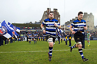 James Phillips, Paul Grant and the rest of the Bath Rugby team run out onto the field. Anglo-Welsh Cup match, between Bath Rugby and Newcastle Falcons on January 27, 2018 at the Recreation Ground in Bath, England. Photo by: Patrick Khachfe / Onside Images