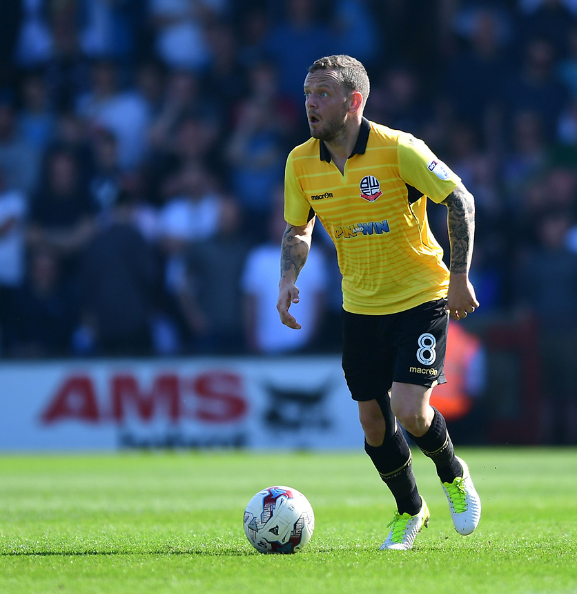 Bolton Wanderers' Jay Spearing<br /> <br /> Photographer Chris Vaughan/CameraSport<br /> <br /> The EFL Sky Bet League One - Scunthorpe United v Bolton Wanderers - Saturday 8th April 2017 - Glanford Park - Scunthorpe<br /> <br /> World Copyright &copy; 2017 CameraSport. All rights reserved. 43 Linden Ave. Countesthorpe. Leicester. England. LE8 5PG - Tel: +44 (0) 116 277 4147 - admin@camerasport.com - www.camerasport.com