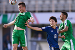 Saparov Mekan of Turkmenistan (L) fights for the ball with Haraguchi Genki of Japan (2nd R) during the AFC Asian Cup UAE 2019 Group F match between Japan (JPN) and Turkmenistan (TKM) at Al Nahyan Stadium on 09 January 2019 in Abu Dhabi, United Arab Emirates. Photo by Marcio Rodrigo Machado / Power Sport Images
