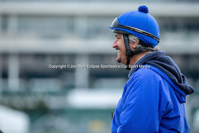 APRIL 26, 2015: Trainer Steve Asmussen during morning workouts  at Churchill Downs in Louisville, KY. Jon Durr/ESW/Cal Sport Media