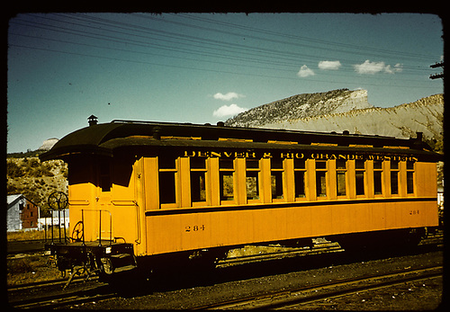 3/4 view passenger coach #284 at Durango. Durango - Silverton excursion train.<br /> D&amp;RGW  Durango, CO
