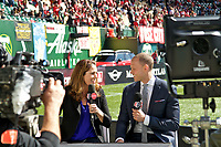 Portland, OR - Saturday April 15, 2017: Julie Foudy, Dalen Cuff prior to a regular season National Women's Soccer League (NWSL) match between the Portland Thorns FC and the Orlando Pride at Providence Park.