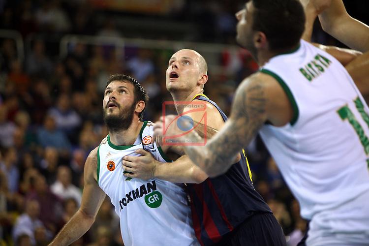Euroleague Basketball-Regular Season Round 5.<br /> FC Barcelona vs Panathinaikos Athens: 78-69.<br /> Antonis Fotsis vs Maciej Lampe.
