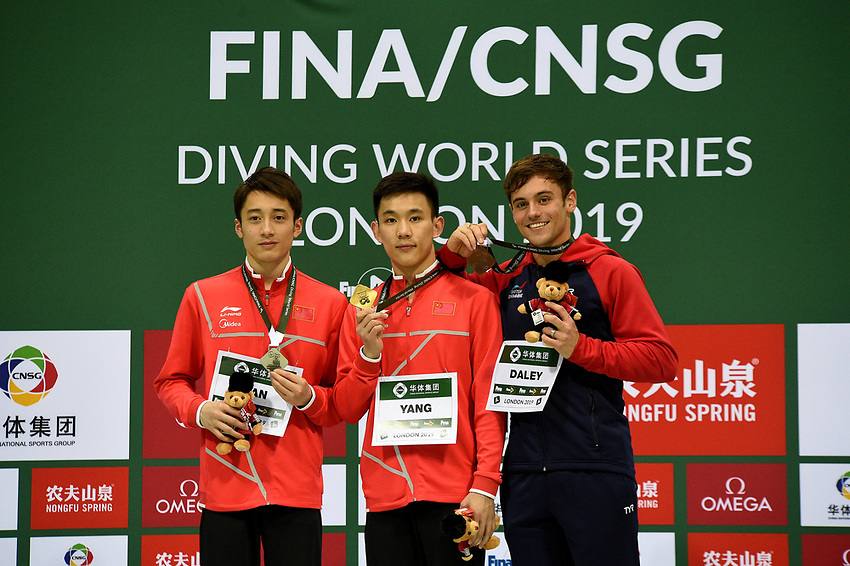 Men's 10m platform medallists Tom Daley (Bronze) Junjie Lian (Silver) and Hao Yang (Gold)<br /> <br /> Photographer Hannah Fountain/CameraSport<br /> <br /> FINA/CNSG Diving World Series 2019 - Day 3 - Sunday 19th May 2019 - London Aquatics Centre - Queen Elizabeth Olympic Park - London<br /> <br /> World Copyright © 2019 CameraSport. All rights reserved. 43 Linden Ave. Countesthorpe. Leicester. England. LE8 5PG - Tel: +44 (0) 116 277 4147 - admin@camerasport.com - www.camerasport.com