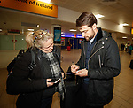 Russell Martin arrives at Glasgow airport to sign for Rangers and give autographs to fans