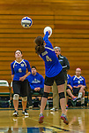 1 November 2015: Yeshiva University Maccabee Outside Hitter, Setter, and team co-Captain Shana Wolfstein, a Senior from Burlington, VT, bumps one during game action against the Old Westbury Panthers at SUNY Old Westbury in Old Westbury, NY. The Panthers edged out the Maccabees 3-2 in NCAA women's volleyball, Skyline Division play. Mandatory Credit: Ed Wolfstein Photo *** RAW (NEF) Image File Available ***