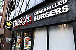 Carl's Jr. signboard on display outside its first Japanese store located in Tokyo's Akihabara district, on March 2, 2016, Japan. The Californian fast food restaurant follows on the heels of Shake Shack in entering the Japanese market. Mitsuuroko Group Holdings Co., Ltd. has signed a franchise agreement to operate Carl's Jr. branches in Japan with the first to open to the public on March 4th. (Photo by Rodrigo Reyes Marin/AFLO)