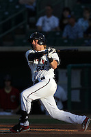 Jonathan Meyer #23 of the Lancaster JetHawks bats against the Lake Elsinore Storm at Clear Channel Stadium on May 11, 2012 in Lancaster,California. (Larry Goren/Four Seam Images)