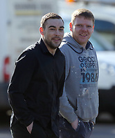 Pictured: Daniel Stewart Skelton (L) arrives at Teesside Justice Centre in Middlesbrough. Tuesday 21 March 2017<br /> Re: A man who allegedly assaulted a Swansea photographer has appeared before Teesside Magistrates Court.<br /> Dimitris Legakis was in Middlesbrough preparing to take pictures of Swansea City's Premier League match there, when he was attacked by Daniel Skelton.<br /> Skelton, 28, of Redcar, is facing multiple charges - including two which are racially or religiously aggravated.<br /> The incident took place on December 16 in the town's Southfield Road.<br /> Magistrates declined jurisdiction and the matter will be dealt with at Middlesbrough Crown Court.