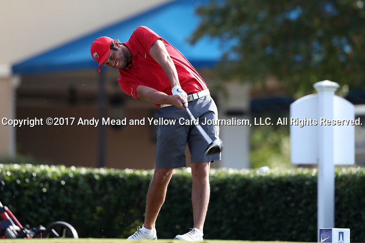 DURHAM, NC - SEPTEMBER 17: Liberty's Hutson Chandler on the tenth tee. The third round of the Rod Myers Invitational Men's Golf Tournament was held on September 17, 2017, at the Duke University Golf Club in Durham, NC.