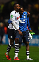Preston North End players console each other at age final whistle<br /> <br /> Photographer Dave Howarth/CameraSport<br /> <br /> The Carabao Cup Third Round - Preston North End v Manchester City - Tuesday 24th September 2019 - Deepdale Stadium - Preston<br />  <br /> World Copyright © 2019 CameraSport. All rights reserved. 43 Linden Ave. Countesthorpe. Leicester. England. LE8 5PG - Tel: +44 (0) 116 277 4147 - admin@camerasport.com - www.camerasport.com