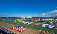 DEL MAR, CA - NOVEMBER 04: Military jets fly over the track during opening ceremonies of Day 2 of the 2017 Breeders' Cup World Championships at Del Mar Racing Club on April 3, 2017 in Del Mar, California. (Photo by Scott Serio/Eclipse Sportswire/Breeders Cup)