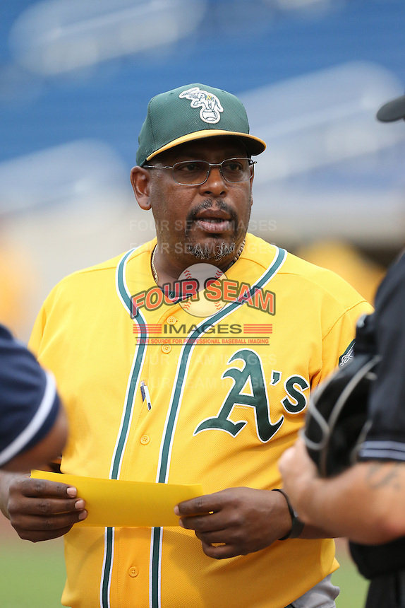 AZL Athletics Manager Ruben Escalera (64) before a game against the AZL Brewers at Maryvale Baseball Park on June 30, 2015 in Phoenix, Arizona. Brewers defeated Athletics, 4-2. (Larry Goren/Four Seam Images)