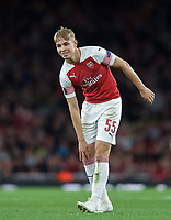 Emile Smith-Rowe of Arsenal during the UEFA Europa League match group between Arsenal and Vorskla Poltava at the Emirates Stadium, London, England on 20 September 2018. Photo by Andrew Aleks / PRiME Media Images.