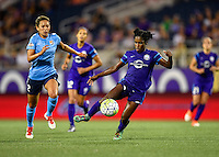 Orlando, FL - Saturday September 10, 2016: Shawna Gordon, Jasmyne Spencer during a regular season National Women's Soccer League (NWSL) match between the Orlando Pride and Sky Blue FC at Camping World Stadium.