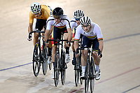 Regan Gough (L) of East Coast North Island, Nick Kergozou and Pieter Bulling of Southland and Dylan Kennett of Waikato BOP in the Elite Men Omnium 3, Elimination, at the Age Group Track National Championships, Avantidrome, Home of Cycling, Cambridge, New Zealand, Saturday, March 18, 2017. Mandatory Credit: © Dianne Manson/CyclingNZ  **NO ARCHIVING**