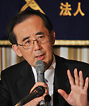 February 7, 2011, Tokyo, Japan - Bank of Japan Gov. Masaaki Shirakawa gestures as he speaks during a lecture at Tokyo's Foreign Correspondents' Club of Japan on Monday, February 7, 2011. Shirakawa said the economy is moving closer to breaking out of its current lull. (Photo by Natsuki Sakai/AFLO) [3615] -mis-