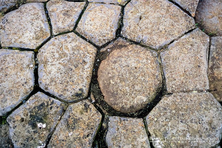 Iceland, Kirkjubæjarklaustur.  Kirkjugólf  (Churchfloor) is a natural pavement of basalt columns.