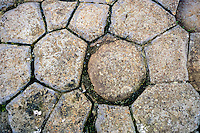 Iceland, Kirkjubæjarklaustur.  Kirkjugólf  (Churchfloor) is a natural pavement of basalt columns.
