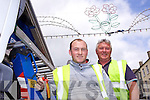 AND THEY'RE ON: David Rogers and Sean Moriarty of Sean Moriarty Electrical who have spent the last five weeks preparing the lights for the International Rose of Tralee Festival.
