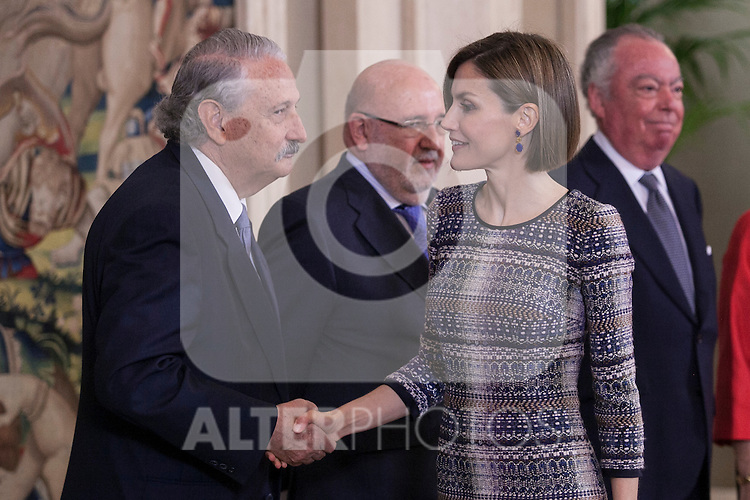 """Queen Letizia of Spain during a Royal Audience with """"HISPANIA NOSTRA"""" association representatives at Zarzuela Palace in Madrid, Spain. April 30, 2015. (ALTERPHOTOS/Victor Blanco)"""