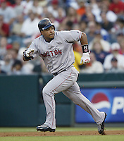 Manny Ramirez of the Boston Red Sox runs the bases during a 2002 MLB season game against the Los Angeles Angels at Angel Stadium, in Anaheim, California. (Larry Goren/Four Seam Images)