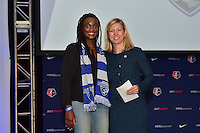 Los Angeles, CA - Thursday January 12, 2017: Ifeoma Onumino, Managing Director of Operations Amanda Duffy during the 2017 NWSL College Draft at JW Marriott Hotel.