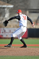 Rutgers Scarlet Knights pitcher Reed Shuttle (14) during game game 2 of a double header against the University of Houston Cougars at Bainton Field on April 5, 2014 in Piscataway, New Jersey. Houston defeated Rutgers 9-1.      <br />  (Tomasso DeRosa/ Four Seam Images)