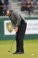 Darren Fichardt (RSA) putts on the 18th green during Sunday's fog delayed Round 3 of the 2017 Omega European Masters held at Golf Club Crans-Sur-Sierre, Crans Montana, Switzerland. 10th September 2017.<br /> Picture: Eoin Clarke | Golffile<br /> <br /> <br /> All photos usage must carry mandatory copyright credit (&copy; Golffile | Eoin Clarke)