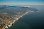 Aerial above the coast at Pacifica, California