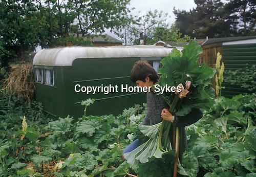 Findhorn Community Foundation Moray Scotland. Peter Caddy's original caravan, huge  vegetables still grow in Peters garden. 1970s.