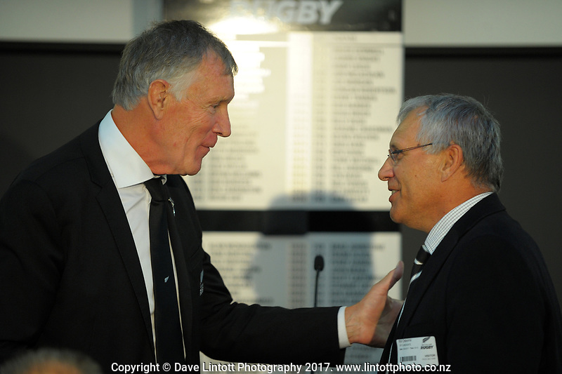 Maurice Trapp and Bill Osborne. The 2017 New Zealand Rugby Union Annual General Meeting at the New Zealand Rugby Union Head Office in Wellington, New Zealand on Thursday, 27 April 2017. Photo: Dave Lintott / lintottphoto.co.nz