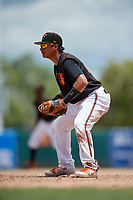 GCL Orioles first baseman Jose Lizarraga (28) during a Gulf Coast League game against the GCL Braves on August 5, 2019 at Ed Smith Stadium in Sarasota, Florida.  GCL Orioles defeated the GCL Braves 4-3 in the second game of a doubleheader.  (Mike Janes/Four Seam Images)