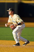 Wake Forest Demon Deacons second baseman Conor Keniry #14 on defense against the UNC-Asheville Bulldogs at Wake Forest Baseball Park on February 28, 2012 in Winston-Salem, North Carolina.  The Demon Deacons defeated the Bulldogs 9-8.  (Brian Westerholt/Four Seam Images)