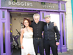 Bride Anne McCormack, Groom Alan Ruddy and priest Pat McDonnell who took part in the mock wedding at Bogger's lounge in aid of the Order of Malta. Photo: Colin Bell/pressphotos.ie