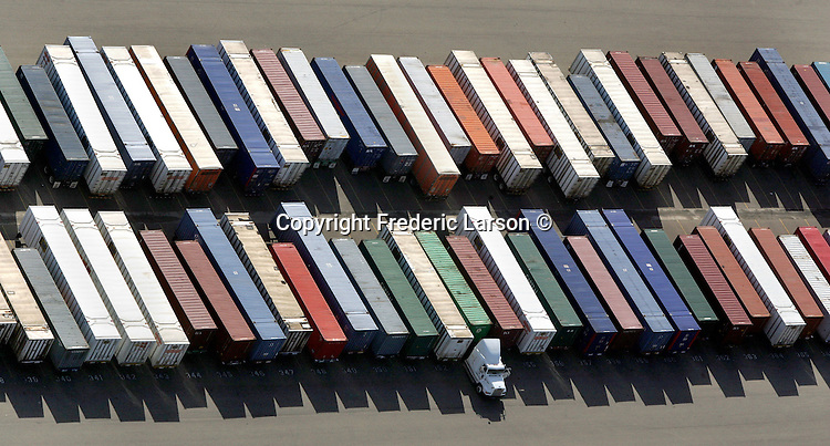 Hundreds of containers are lined up at the Oakland shipyard as Oakland to Asia shipping rates are very low lots of imports coming here and containers are going back empty, but Asian shippers are offering deals to fill the containers and generate some revenue. .