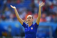 DECINES-CHARPIEU, FRANCE - JULY 07: Alex Morgan #13 warming up prior to the 2019 FIFA Women's World Cup France Final match between Netherlands and the United States at Groupama Stadium on July 07, 2019 in Decines-Charpieu, France.