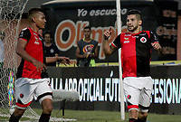 CUCUTA - COLOMBIA, 24-08-2019: Jhonatan Agudelo de Cúcuta celebra después de anotar el primer gol de su equipo durante partido entre Cúcuta Deportivo y La Equidad por la fecha 8 de la Liga Águila II 2019 jugado en el estadio General Santander de la ciudad de Cúcuta. / Jhonatan Agudelo of Cucuta celebrates after scoring the first goal of his team during match between Cucuta Deportivo and La Equidad for the date 8 of the Liga Aguila II 2019 played at the General Santander stadium in Cucuta city. Photo: VizzorImage / Manuel Hernandez / Cont