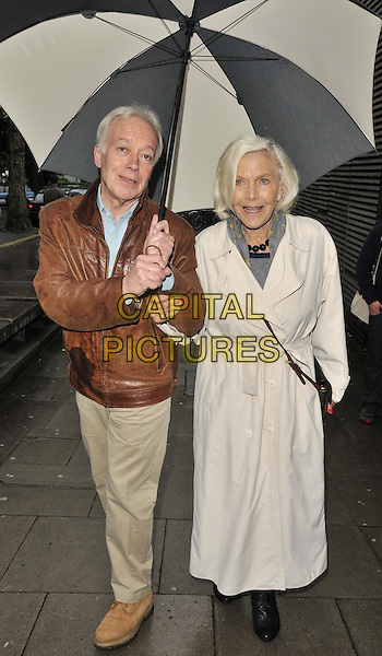 LONDON, ENGLAND - MAY 01: Nickolas Grace &amp; Honor Blackman attend the &quot;Sunny Afternoon&quot; press night performance, Hampstead Theatre, Eton Avenue, Swiss Cottage, on Thursday May 01, 2014 in London, England, UK.<br /> CAP/CAN<br /> &copy;Can Nguyen/Capital Pictures
