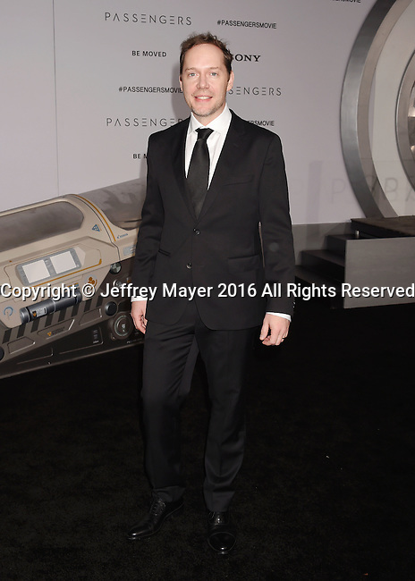 WESTWOOD, CA - DECEMBER 14: Screenwriter Jon Spaihts arrives at the Premiere Of Columbia Pictures' 'Passengers' at Regency Village Theatre on December 14, 2016 in Westwood, California.