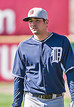 16 March 2014: Detroit Tigers infielder Nick Castellanos awaits his turn in the batting cage prior to a Spring Training Game against the Washington Nationals at Space Coast Stadium in Viera, Florida. The Tigers edged out the Nationals 2-1 in Grapefruit League play. Mandatory Credit: Ed Wolfstein Photo *** RAW (NEF) Image File Available ***