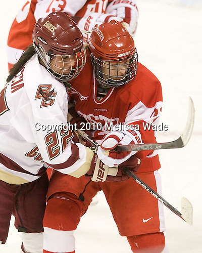 Mary Restuccia (BC - 22), Jill Cardella (BU - 22) - The visiting Boston University Terriers defeated the Boston College Eagles 1-0 on Sunday, November 21, 2010, at Conte Forum in Chestnut Hill, Massachusetts.