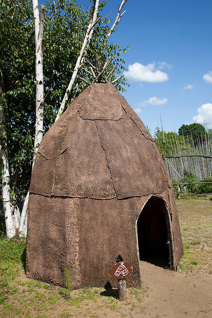 Traditional bark covered wigwam at the Huron Ouendat Village, Midland Ontario Canada