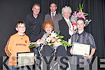 "STAR; Maureen O'Hara who was presented with gifts after the Kerry Film Festival in Siamsa Tire on Saturday and also presented with certificates from the actress Maureen O'Hara  Jack Nolan and Darragh Goulding (Ballyduff)certificates in making short films. Front l-r: Jack Nolan, Maureen O'Hara and Darragh Goulding. Back l-r: Jason  O'Mahony (past chairman of Siamsa Tire Tralee) Finnnuala Flanagan (Film Director) and ""FM DJ Dave Fanning............."