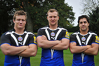 New signings Brett Sharman, Nick Koster and Horacio Agulla pose for a group portrait. Bath Rugby Photocall on October 25, 2012 at Farleigh House in Bath, England. Photo by: Patrick Khachfe/Onside Images