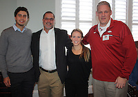 NWA Democrat-Gazette/CARIN SCHOPPMEYER Alvaro Ortiz (from left), Brad McMakin, Shannon Hudson and Jason Watson attend the Razorback Foundation luncheon.